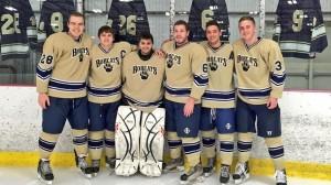Seniors Zachary Frantik, Nico Vecchio, Ryan Palonis, Dan DeMarchi, Anthony Maroadi, and Ryan Joyce pose before their final regular-season game of their collegiate careers – Courtesy of @PittGbgHockey